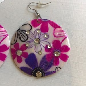 Jewelry - Hand Painted Mother of Pearl Earrings